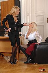 D-cup lesbians having fun at work