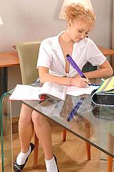 Prada pleasing herself with a pen