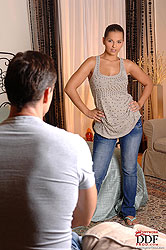 Eve Angel toying for a man on bed