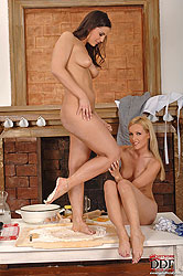 Eve Angel & Sophie Moone in kitchen
