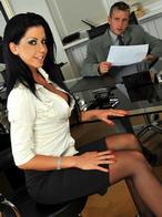 Hot brunette Larissa enjoying a cock in her ass