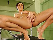 Hot girl with tiny pink pussy stuffing a speculum
