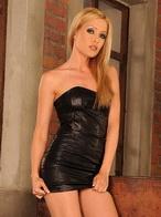 Blonde pornstar Sophie stuffing sexy black panties