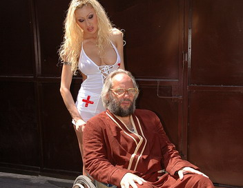 Enormous titted blonde nurse fucking with grandpa