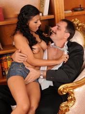 Hot brunette Yoha sucking and fucking with grandpa