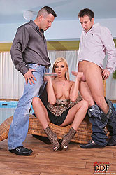 Sexy blonde Dona fucked by two guys