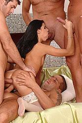 Horny, slender bitch takes 4 cocks