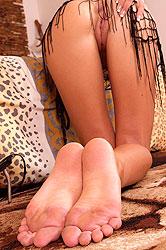 Sexy long legged blonde teasing