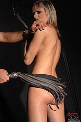Blonde Szofya Cox bound & whipped