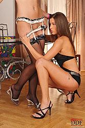 Hot horny lesbians have bondage sex
