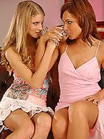 Teenie blonde cutie licking her aunts wet pussy