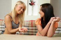 Hot teen girlfriends kissing n stuffing anal dildo