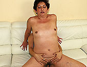 Puffy grandma sucking and riding on young dick