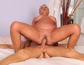 Horny granny Cecily fucking with a younger boy