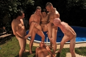 Nympho granny Margo T is dealing with 5 big cocks