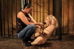 Teen newcummer babe Nesty in a lezdom BDSM action