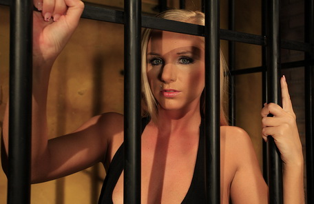 Cruel blonde mistress dildoing sexy blonde victim