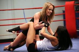 Lesbian girls in wrestling battle w pussy licking