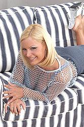 Blonde Sheila gets cummed on face