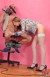 Judy White sucks big cock kneeling
