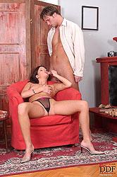 Sexy Sheryl stroking & sucking cock