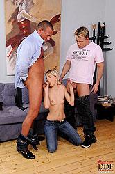 Blonde babe Wiska sucking three men
