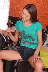 Brunette Nataly Gold doing blowjob