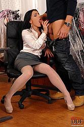 Sexy boss lady suckin down salami!