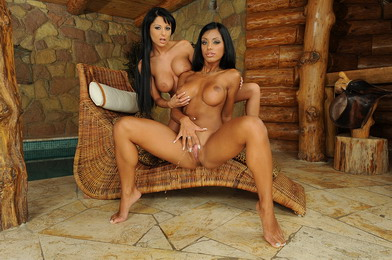 Busty lesbian babes are pissing and dildoing pussy