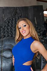 Melanie Gold strips off a skin tight blue dress off her luscious thin body. She gets a big internal cumshot in her pussy. Jan-2015 2222