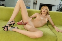 Fancy blonde girl using pocket rocked and a dildo