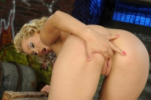Pretty blonde Yvette dildoing sweet in high heels