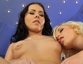A blonde and a brunette teen girl having hor sex
