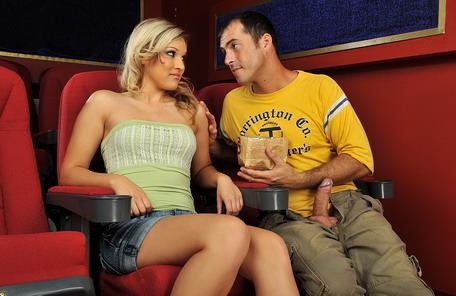 Sexy blonde babe got fucked hard in the cinema