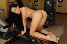 Cutie Sasha having fun w her dildo in the gym