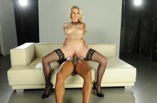 Blonde babe in black lingerie screwed by black guy