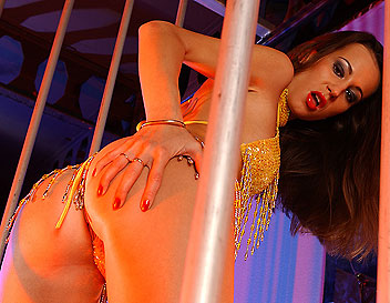 Wild Jennifer posing behind bars in fancy lingerie