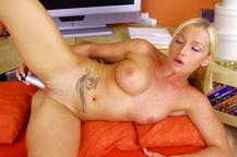 Adorable blonde Kathia teasing her asshole w dildo