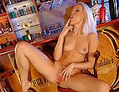 Blonde Sophie Moone fingering at the bar