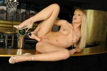 Sophie Moone all alone dildoing in an empty bar