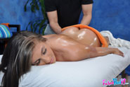 Cute 18 year old brunette gets seduced by her massage therapist