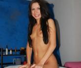 Super hot brunette strips naked for her massage