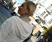 Denisa - Trashy European Blonde Denisa rides a huge cock
