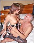 Sexy British brunette girl banged by an old horny senior