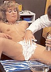 Doctor preparing to shave a wet hairy seventies pussy bald