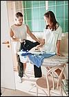 Horny teenage girl sucks and fucks at the ironing board