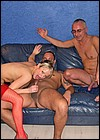British blonde slut fucked by two grey horny senior guys