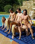 Five filthy British sluts loving a big stiffy cock inside