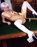 Two filthy British sluts playing a game of poolbilliard