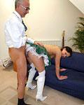 Dirty British slut boned hard by the horny senior Jimbo